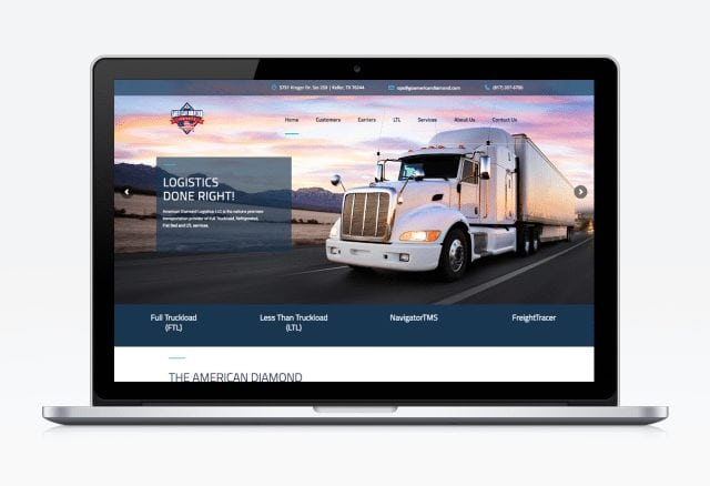 American Diamond Logistics Website Designed By Moonshot Marketing